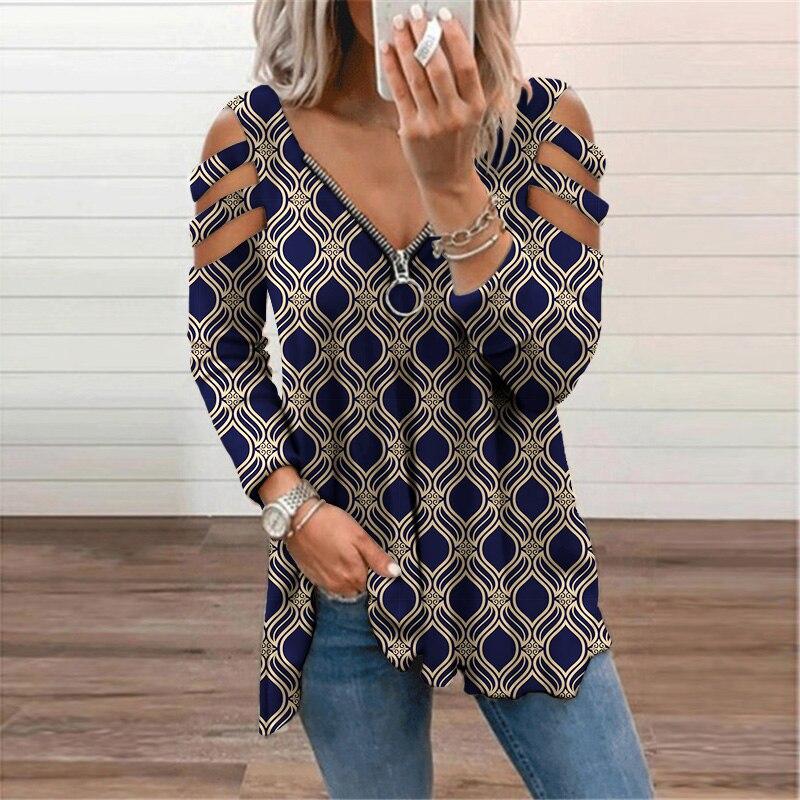 Elegant Vintage Plaid Long Sleeve T Shirt Women Clothing 2021 Autumn Zipper...