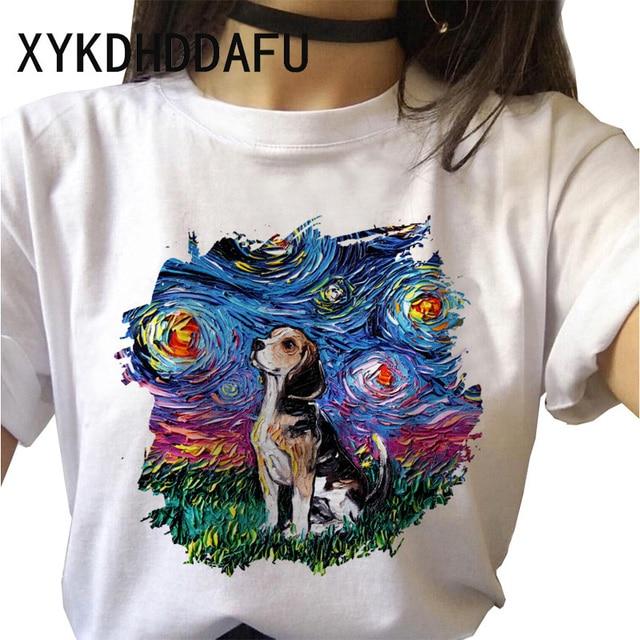 Beagle T Shirt Dog Women Kawaii Harajuku Top Tee Aesthetic Ulzzang Tshirt Femme Funny Vintage Casual O-Neck T-shirt Female 2020 4