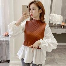 Korean fashion knit stitching false two pieces lantern sleeve shirts kawaii ladies high neck peplum top ruffle blouse