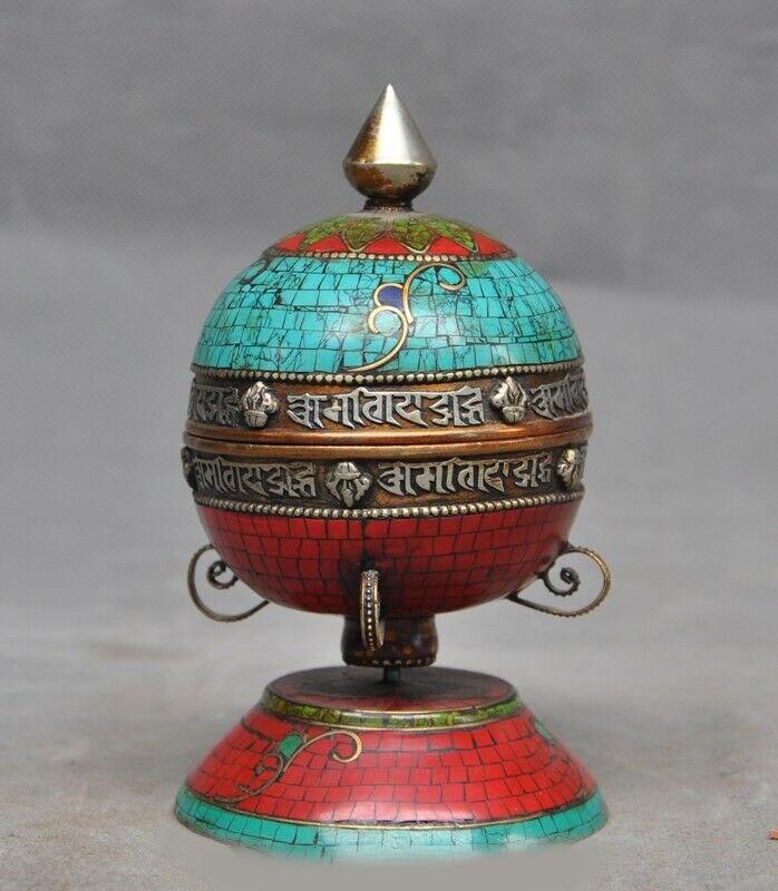 wedding decoration Old Tibetan Bronze inlay Turquoise Red Coral Pray Tripitaka text Prayer Wheel|Statues & Sculptures| |  - title=