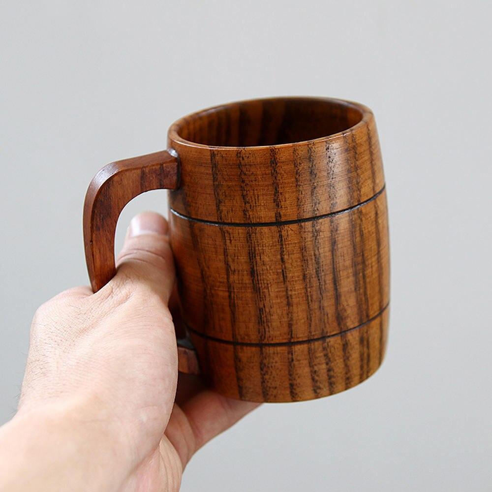 Solid Jujube Mug Handmade Wooden Coffee Beer Mugs Wood Cup Handmade Tea Cup With Handle Kitchen Dining Bar Supplies