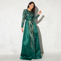Green Sequined O Neck Full Sleeved Evening Party Dress Stretchy Floor Length Ball Gown with Detachable Train Burgundy