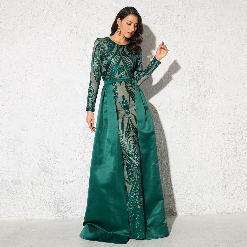 Vestido de fiesta de noche de manga larga con cuello redondo con lentejuelas verdes vestido de baile elástico largo hasta el suelo con tren desmontable Borgoña