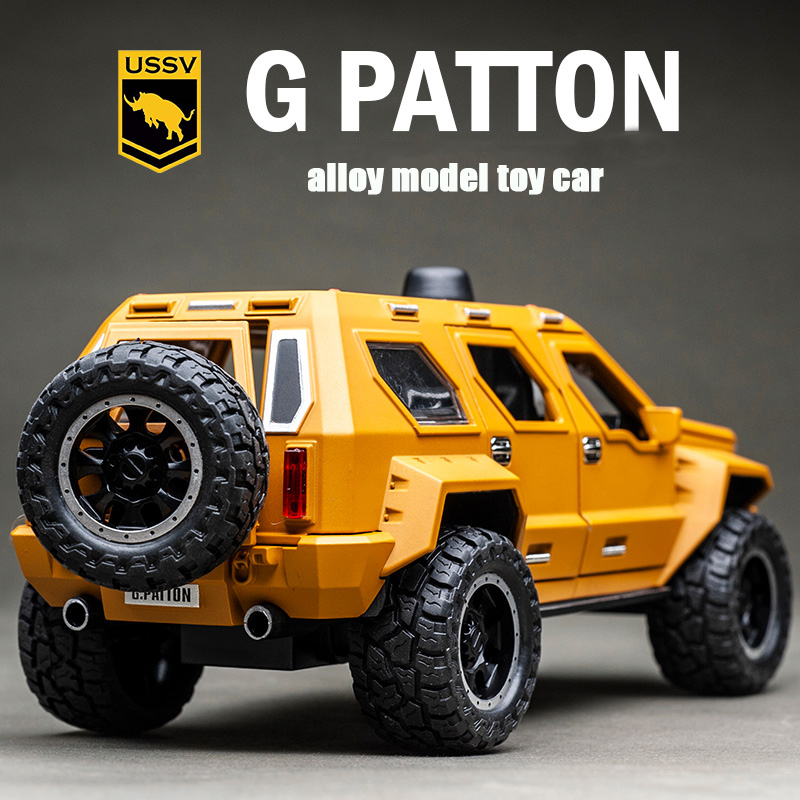1:24 George Patton Alloy Car Model With Sound And Light Effects And Pull Back Function Suitable For Boys'Military Game Toy Car