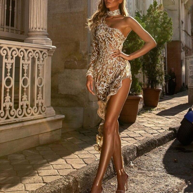 Robe de soirée élégante asymétrique épaule dénudée