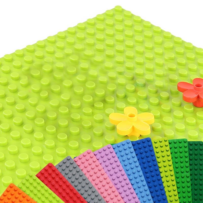 Купить с кэшбэком Big Size Blocks Base Plate 32*16 Dots 51*25.5cm Compatible Duploed Baseplate Building Toys DIY Building Blocks Toys For Children