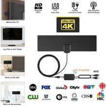 Усиленное Цифровое ТВ высокой четкости антенна 80 Mile-Range поддержка 4K VHF UHF Freeview местный канал с антенный усилитель коаксиальный кабель