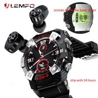 LEMFO LEMD Astuto Della Vigilanza di Bluetooth 5.0 con Auricolari Senza Fili 2 in 1 Monitor di Frequenza Cardiaca Smartwatch Uomini Lungo Tempo di Standby in Magazzino