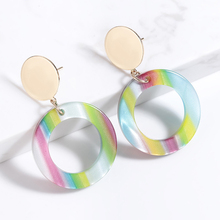 Trendy Striped Print Brincos Earrings For Women Dangle Earring Boho Colourful Geometry Round Earing Elegant Jewelry Pendientes