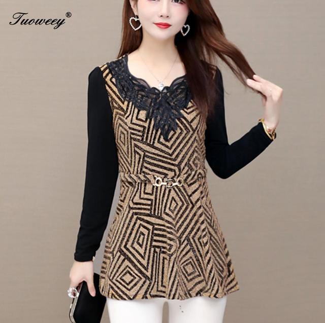 plus size Women vintage Blouses hollow out Fashion autumn long Sleeve Shirt Female V neck tops camisas mujer elegant 1