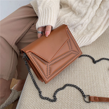 High Quality Women Small Pu Leather Shoulder Bag Fashion Rivet Chain Crossbody Bags for Women Casual Female Purse Messenger Bags image