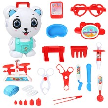 Children's Cartoon Backpack Through Home Suitcase Toy Doctor Kitchen Engineering Cosmetic Toys Set Panda Doctor Toys(China)