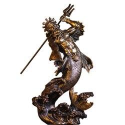 Статуя Из бронзового мрамора, греческий бог морской дайвер