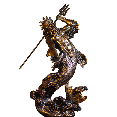 Atlantis POSEIDON Neptune Sea Greek God Marine Diver Art Bronze Marble Statue