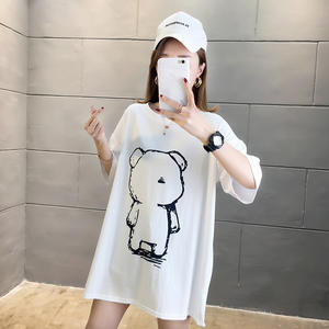 T-Shirt Spandex Dress Short-Sleeve Collar Han-Edition Cotton Loose Round Fat-Mm Big-Yards