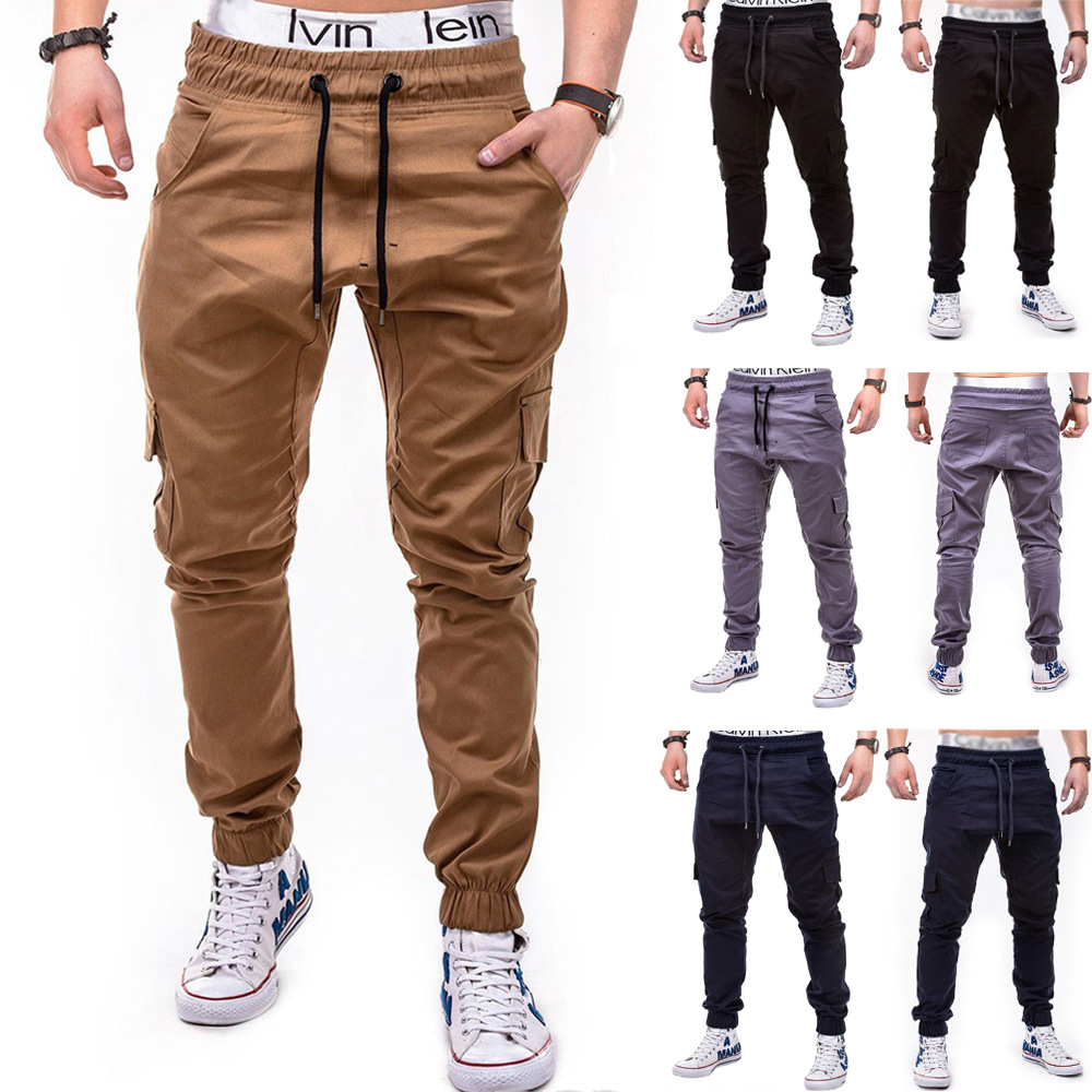 2018 New Style Men Fashion Solid Color Side Pocket With Drawstring Belt Casual Ankle Banded Pants Trousers 7439