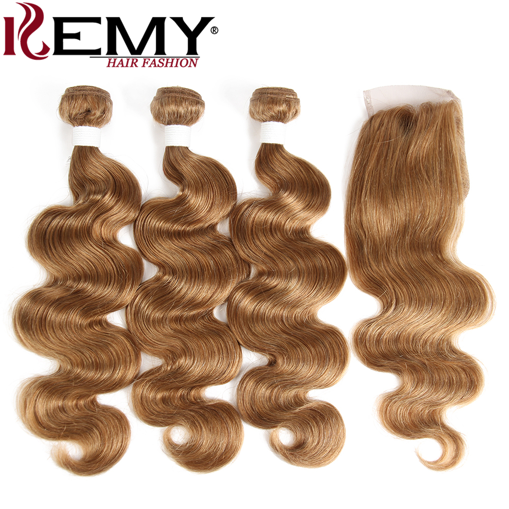 Light Brown Body Wave Human Hair Bundles With Closure 4x4 KEMY Pre-Colored Brazilian Hair Weave Bundles With Closure Non-Remy