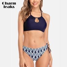 Charmleaks Women Bikini Set High Neck Sexy Swimsuit Halter Swimwear Strappy Bandaged Bathing Suit Beachwear black halter neck bikini set