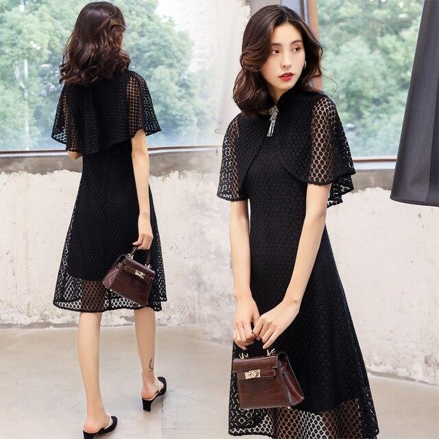 Shanghai story black lace modern elegant qipao dresses