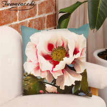 Fuwatacchi Merry Christmas Pillow Covers Hand-painted Flowers Cushion Cover for Home Sofa Decorative Throw Pillowcases 45*45cm