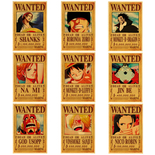 Anime Vintage Stickers Poster Paper Wall-Decor Zoro Wanted Classic Luffy Kraft New
