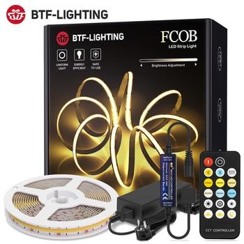 RF 17 Keys Dimmable FCOB CCT LED Light Strip Full Set High Density Flexible FOB COB Led Lights RA90 Warm White with White DC 24V