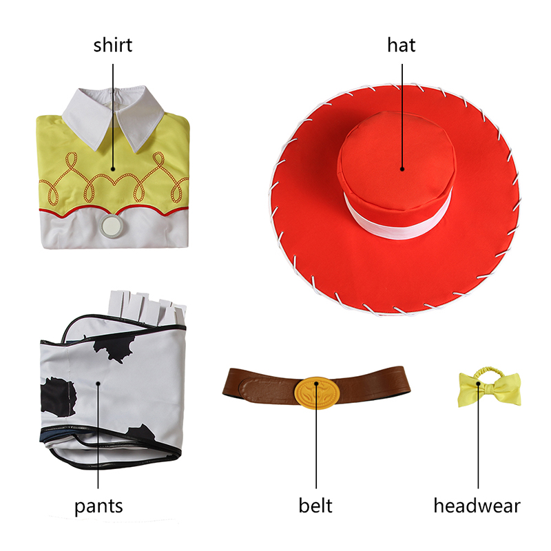 Toy Story Jessie Costume Cosplay Cowgirl Fancy Dress Halloween Party Girl Outfit