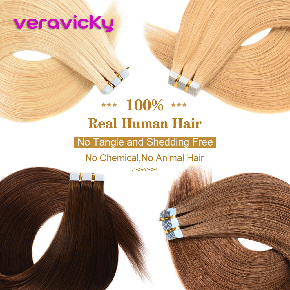 Skin Weft Tape In Real Human Hair Extensions Machine-made Remy Invisible Double Sided Blue Tape Dark Colors For Thin Hair