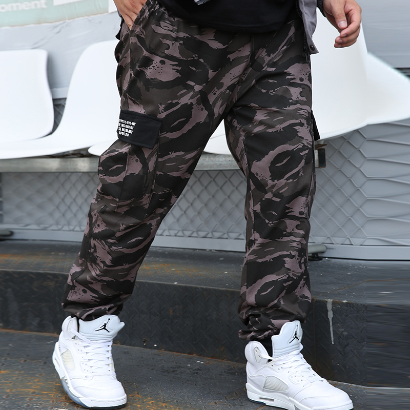 Thoshine Brand Men Casual Cargo Pants Joggers Elastic Waist Cotton Pockets Male Camouflage Trousers Loose Oversize Plus Size 9XL