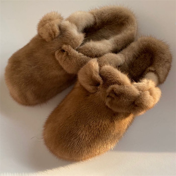 Women's Fur Slippers 100% Mink Summer Furry Flat Indoor - discount item  49% OFF Women's Shoes