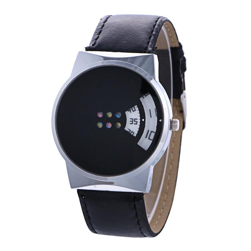 Unique Design Couple Watches No Pointer Watches Women Men Fashion Leather Band Clock Quartz Women's Man's Wristwatches Parejas