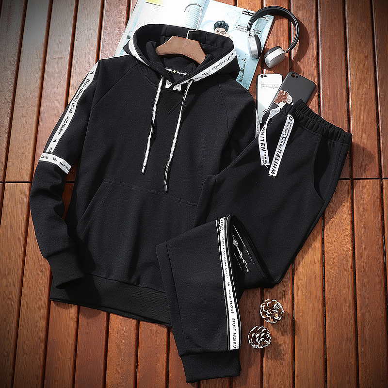 2019 New Style Spring Hooded Pullover Hoody Leisure Sports Suit Men's Korean-style Couples Sports Two-Piece Set