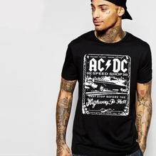 Hillbilly Hip Hop ACDC Printed Soft Cotton Men Tshirts Summer Short Sleeved Oversize Round Neck Tops Harajuku Basic T shirt