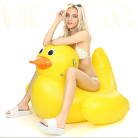 yellow duck inflatable floating island swimming rings air mattresses pool floating row holiday party water sports fun toys PVC