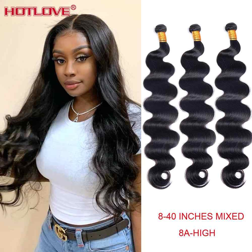 "Brazilian Hair Body Wave Bundles 8-40"" Mixed Long Hair 100% Human Hair Weave 1/3/4 Bundles Natural Color Remy Hair Extensions"