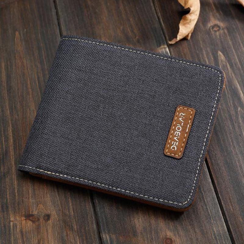 2020 Hot Men's Short Wallet Casual Canvas Wallet Horizontal Slim Simple Ticket Holder Tide