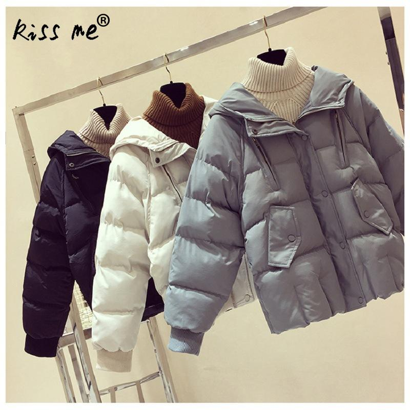 Cotton Clothing Winter Solid Hooded Outdoor Down Jacket Female Casual Loose Style Thermal Coat Women Windproof Warm Down Coat