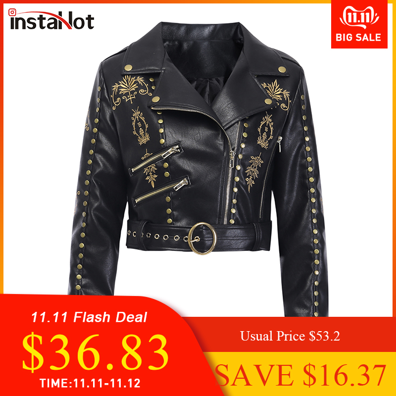 InstaHot Embroidery Faux Leather Coat Motorcycle Zipper Black Jacket Women Rivet Painting Angel Gothic Winter