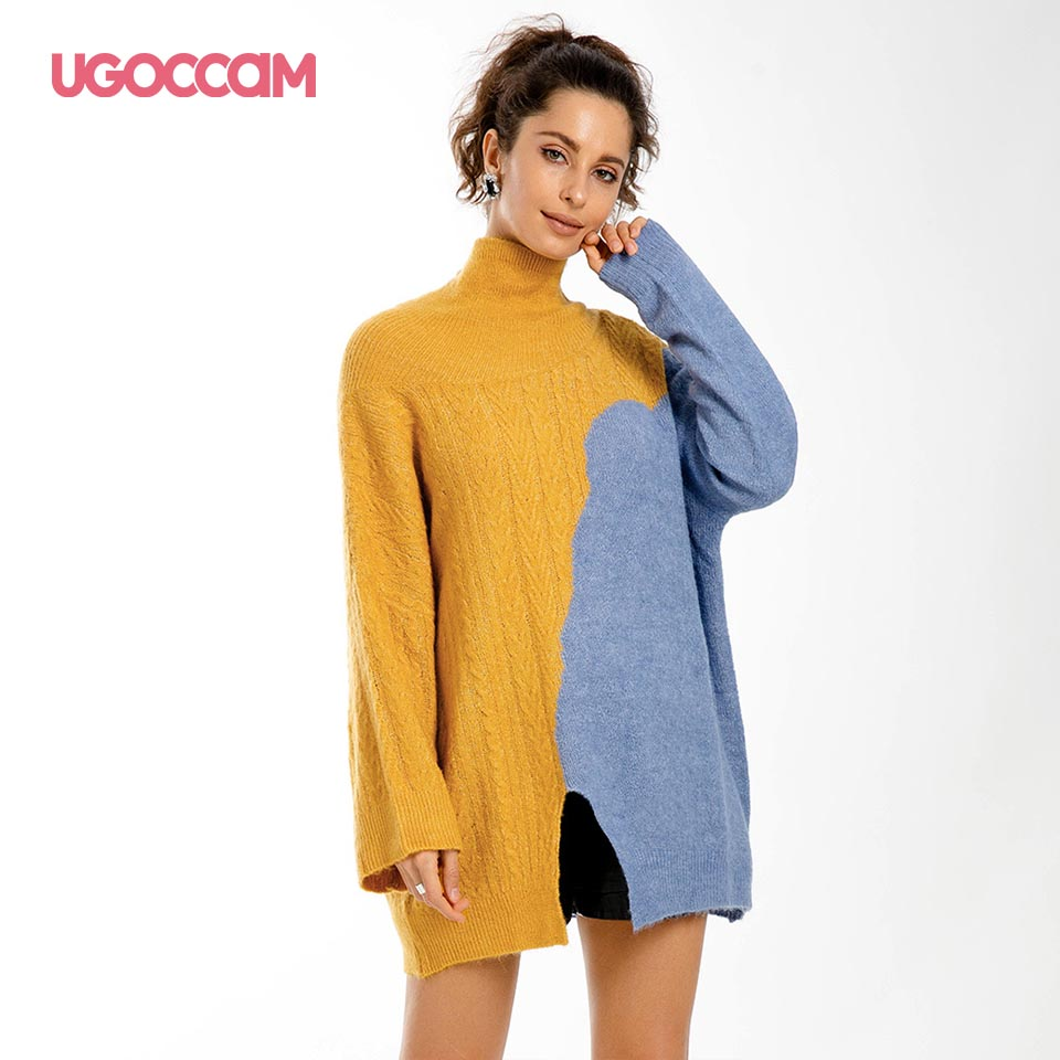 UGOCCAM Women Autumn Sweater Casual Loose Turtleneck Knitted Jumpers Pullovers Streetwear Winter Long Sleeve Fashion Oversize