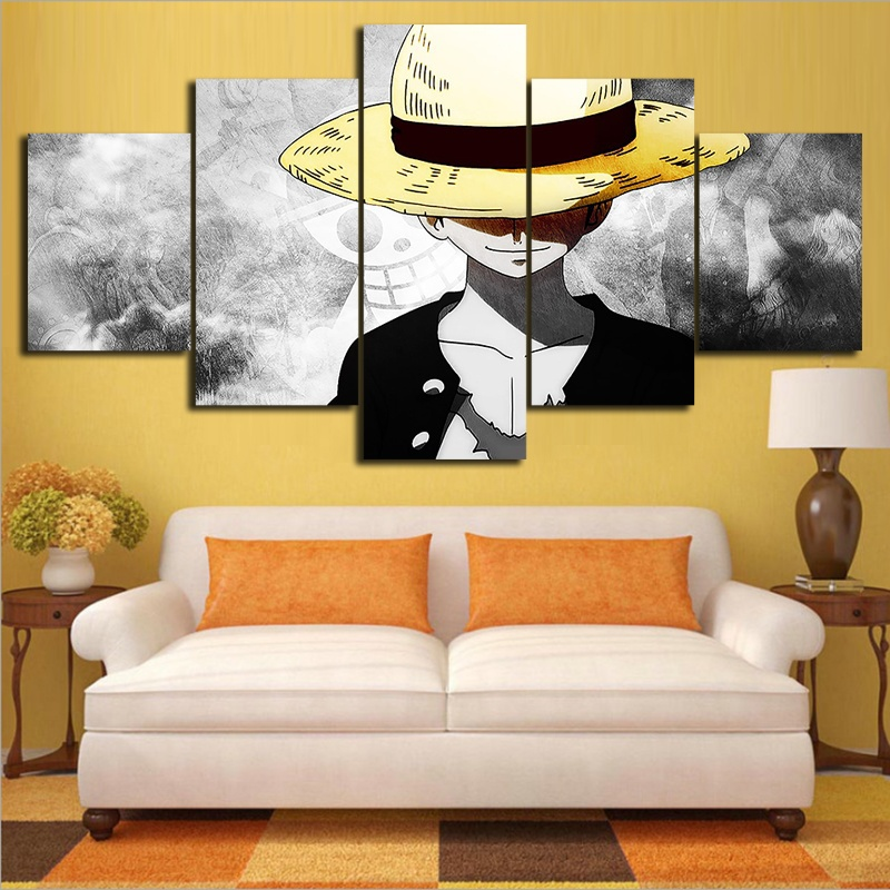 5 Piece HD Wall Art Anime Poster Picture One Piece Monkey D. Luffy Poster Wall Painting for Home Decor 2