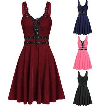 Women Hot Plus Size Cool Solid Bandage Irregular Hem Sleeveless Camisole Mini Dress Gothic Punk Style Sleeveless Strap Dress