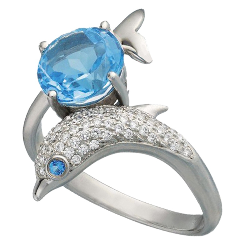 Dolphin Shaped Ring Zircon Romantic Silver Color Women Dance Party Finger Ring Ocean Animal Ring Eye Body Cute with Royal Blue(China)