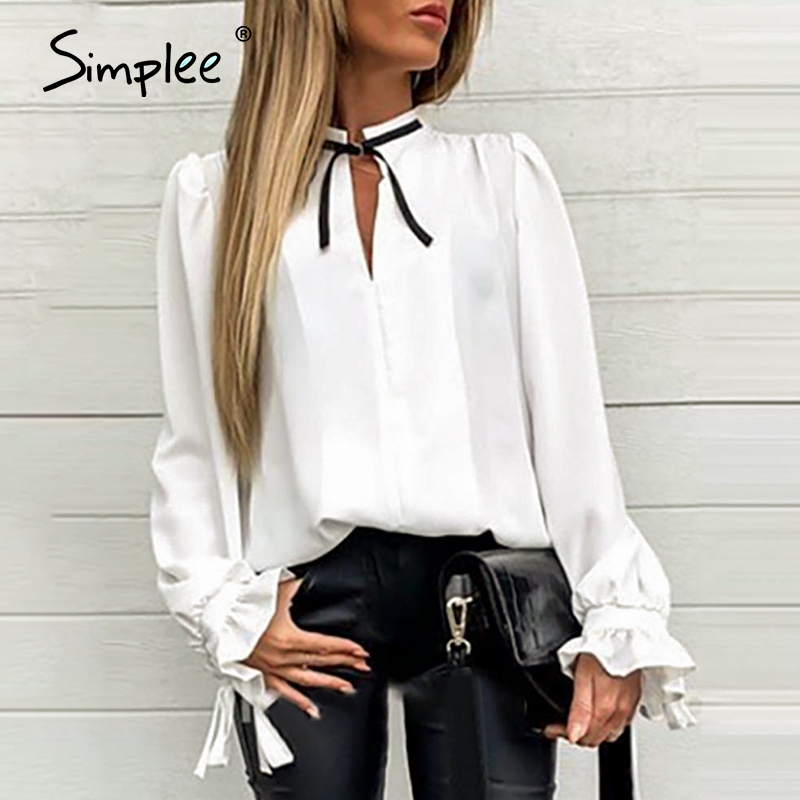 Simplee Sexy Solid Casual Women Blouse Shirt Long Sleeve White Neck Tie Elegant Tops Office Lady Work Wear Party Blouses Top