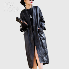 Tretch-Coat Sheepskin Novmoop Genuine-Leather Cuir Pour French-Style LT3264 One-Piece