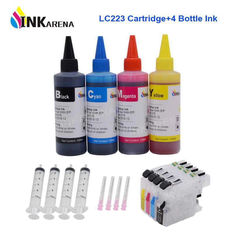 Inkarena LC223 XL Isi Ulang Tinta Kartrid untuk Brother LC 221 223 225 227 229 J680DW J880DW DCP-J4120DW J562DW + Printer ink 400 Ml