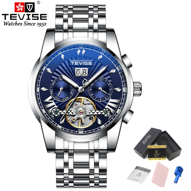 TEVISE T9005F Tourbillon Automatic Self-Wind Mechanical Watches Men Calendar Week Automatic Clock Male Luminous Hands Business