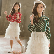 Cute Girls Blouses New Long Sleeve Peter Pan Collar Dot Shirts Baby Kids Clothes Fashion Girls Tops Outfits Vestidos new dew shoulder design clothes the horn sleeve beautiful stripe girls blouses