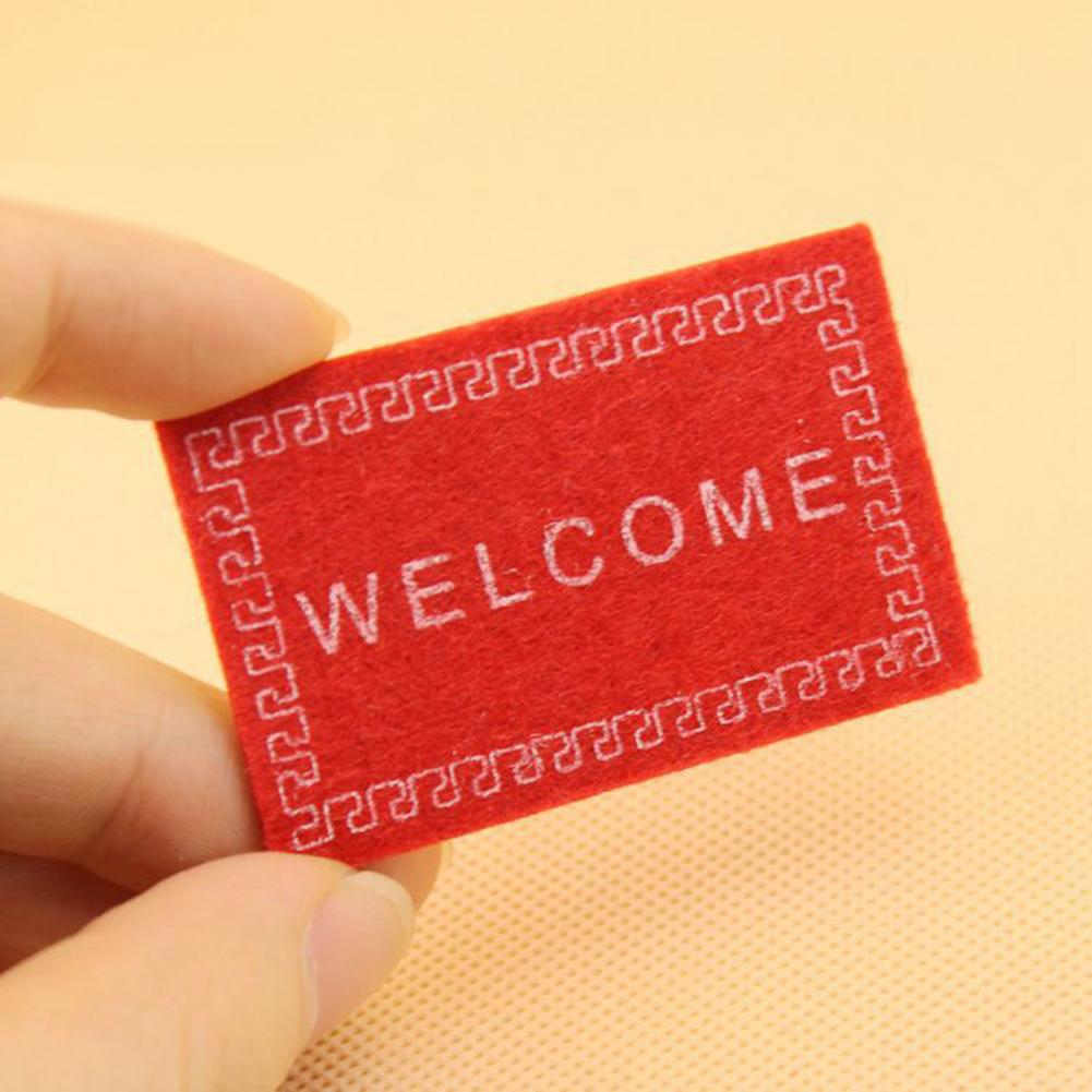 Kids Dollhouse Mini Welcome Non-woven Fabric Door Mat Carpet 1/12 Dollhouse Miniature Decor