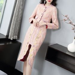 Celebrities small sweet wind of new of 2019 autumn winters heavy embroidery package hip skirt suit coat cultivate ones
