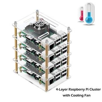 Última carcasa de acrílico transparente de 4 capas de Raspberry pi 4 Carcasa para Raspberry Pi 4B 3B + 3 Modelo B 2B B +